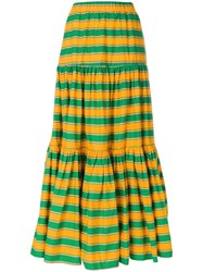 La Doublej Long Striped Skirt Green