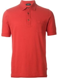 Zanone Chest Pocket Polo Shirt Red