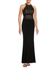 Betsy And Adam Beaded Halter Gown Black Nude