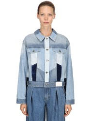 Sjyp Patchwork Cotton Denim Jacket