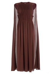 Valentino Midi Length Pleated Silk Dress With Cape Brown