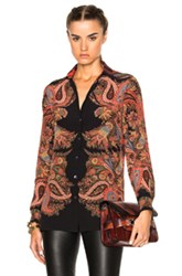 Etro Boyfit Shirt With Plaid Back In Black Red Checkered And Plaid Abstract Black Red Checkered And Plaid Abstract
