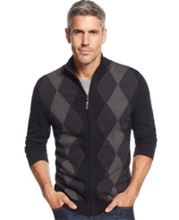 Tasso Elba Big And Tall Argyle Full Zip Sweater Only At Macy's Deep Black Combo