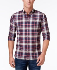 Brooks Brothers Red Fleece Men's Remy Plaid Cotton Shirt Blue Mulit