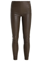 Selected Femme Sfsylvia Leather Trousers Teak Brown