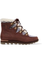 Sorel Sneakchic Alpine Faux Shearling Trimmed Nubuck Ankle Boots Brown