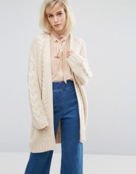 Lost Ink Chunky Cable Knit Cardigan Oatmeal Beige