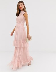 Frock And Frill Tulle Layered Maxi Dress With Embellished Detail Pink