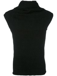 Lost And Found Ria Dunn Draped Neck Sleeveless Jumper Black