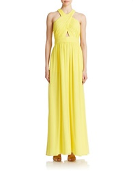Hailey Logan Crossover Shirred Gown Canary