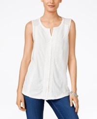 Styleandco. Style And Co. Petite Sleeveless Swiss Dot And Crochet Top Only At Macy's Winter White