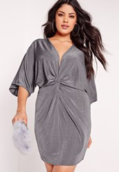 Missguided Plus Size Slinky Kimono Mini Dress Grey Grey