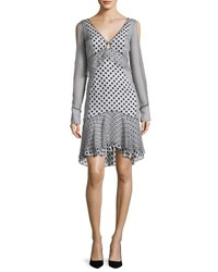 J. Mendel Long Sleeve Mixed Polka Dot Dress Multi