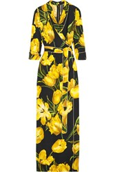 Dolce And Gabbana Wrap Effect Floral Print Crepe Maxi Dress Yellow