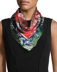 St. Piece Freya Floral Silk Twill Square Scarf Green Red Green Red