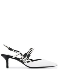 Ash Slingback Pointed Pumps White