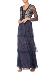 Raishma Embellished Tiered Gown Navy
