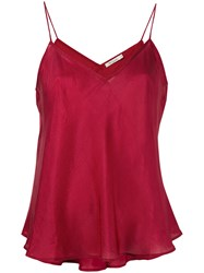 Mes Demoiselles Shift Tank Top Women Silk 38 Red