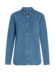A.P.C. Lynn Button Down Collar Denim Shirt Blue