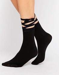 Wolford Lace Up Sock Black
