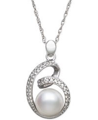 Macy's Cultured Freshwater Pearl 8Mm And Diamond Accent Pendant Necklace In Sterling Silver