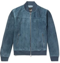 Dunhill Suede Bomber Jacket Blue