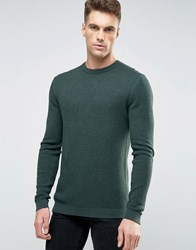 Asos Cotton Crew Neck Sweater With Waffle Texture In Muscle Fit Blue