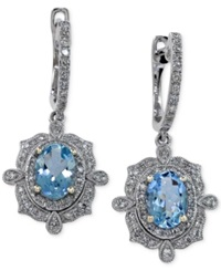 Effy Collection Aquarius By Effy Aquamarine 1 1 2 Ct. T.W. And Diamond 3 8 Ct. T.W. Earrings In 14K White Gold Blue
