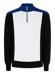 Topman Blue White And Black Half Zip Knitted Track Top