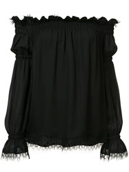 Oscar De La Renta Off The Shoulder Blouse Black