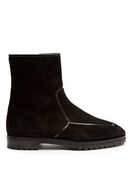 The Row Mink Fur Lined Suede Ankle Boots Black