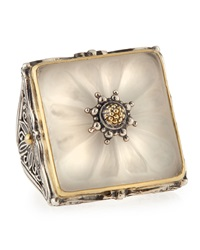 Konstantino Square Flower Carved Frosted Crystal Ring Size 7