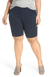 Jag Jeans Plus Size Women's Ainsley Pull On Bermuda Shorts Nautical Navy