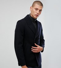 Heart And Dagger Peacoat In Wool Mix Navy