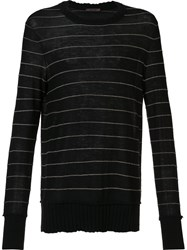 Ziggy Chen Striped Cashmere Jumper Black