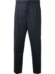 3.1 Phillip Lim Cropped Check Trousers Men Wool 30 Blue