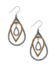 Lucky Brand Pave Peacock Two Tone Studded Teardrop Earrings Mixed Metal