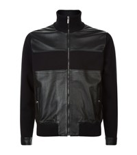 Versace Leather Panel Full Zip Sweater Male Black
