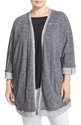 Plus Size Women's Caslon Roll Sleeve Open Front Cardigan