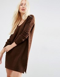 Asos Jumper Dress In Soft Yarn With Deep V Chocolate Brown
