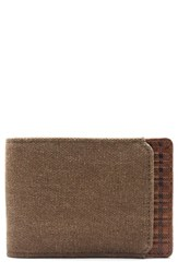 Boconi Bryant Leather And Canvas Slimster Wallet Brown Mahogany Heather