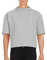 French Connection Cropped Textured Jersey Top Light Grey