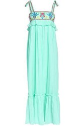 Antik Batik Embroidered Cotton Gauze Maxi Dress Mint