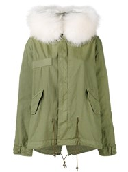 Mr And Mrs Italy Racoon Fur Hooded Parka Green