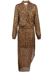 Michelle Mason Leopard Print Wrap Dress Brown