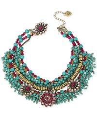 Betsey Johnson Gold Tone Bead And Crystal Decorative Collar Necklace