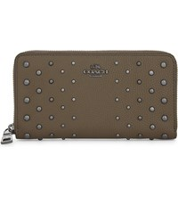 Coach Studded Accordion Leather Wallet Dk Fatigue
