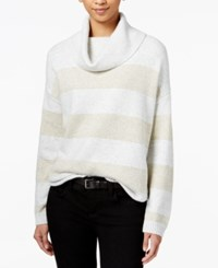 Tommy Hilfiger Striped Metallic Turtleneck Sweater Grey Heather
