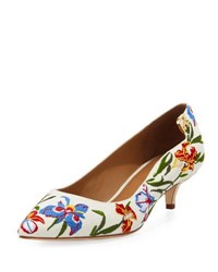 Tory Burch Elizabeth Floral Embroidered Pump Painted Iris