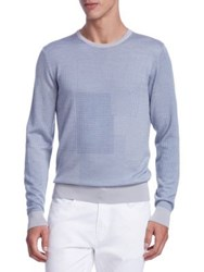 Saks Fifth Avenue Collection Patchwork Cashmere Sweater Chambray
